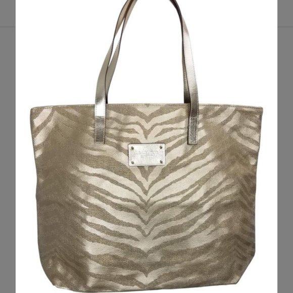 Michael Kors Zebra Print Tote Bag Gold LIKE NEW